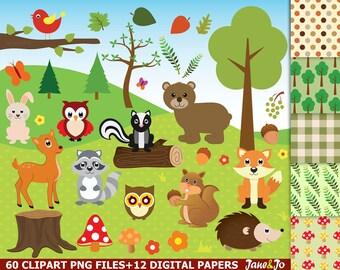 60 Woodland clipart, Woodland clip art,Woodland animals, fox,rabbit,squirrel,acorn,skunk,bear,deer,owl clipart Woodland images,woodland art