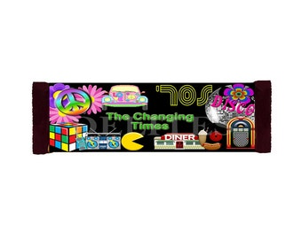 The Changing Times Generational 60's 70's 80's and 90's 43g or 1.55 oz Full Size Candy Bar Labels  - Contact me for your labels