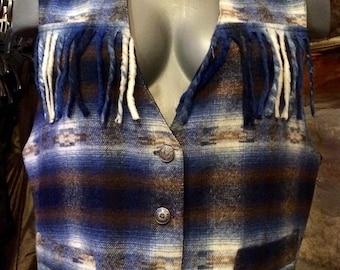 1990's fringed wool plaid vest. Size M/L.