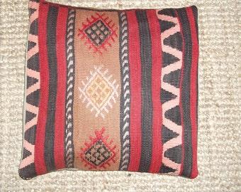 Kilim pillow,Turkish pillow,Decorative pillow,Boho pillow,Tribal pillow,Livingroom pillow,Colorful Pillow,Pillows,16 x 16 inch,40 x 40 cm
