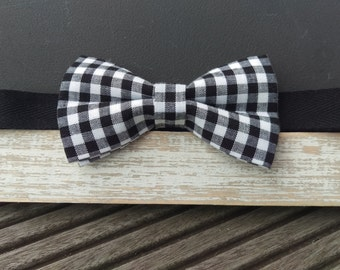 Men's Black and White Gingham Bow Tie