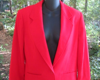 Vintage Pendleton wool bright red blazer jacket Deep V neck single button close Made in USA. Excellent condition