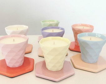 Geo Pastel Votives Soy Candle, Hand Poured