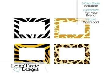 PRINTABLE FIVE Color Safari Food Labels, Place Card, Buffet Food Card, Candy Buffet, Food Label, Zebra, Cheetah, Giraffe, Tiger, Party Food