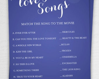 Disney Love Songs Bridal Shower Game