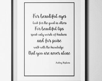 Audrey Hepburn Quote Typography A4 Print