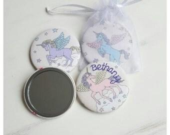 Unicorn compact mirror, hand mirror, pocket mirror, Fabric covered unicorn pocket mirror, personalised gifts, bridesmaid gifts