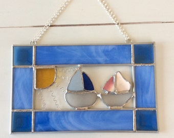Stained Glass and Sea Glass Sailboat Suncatcher