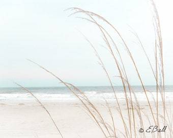 Beach Ocean Shore Sand White Waves Light Wispy Grass Photo Print Wall Art / Beach House Decor Blue Tan Brown Turquoise