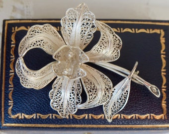 "Silver filagree flower brooch  the vintage open flower with stem and foliage. 6cm (2 1/2"")wedding or gift"