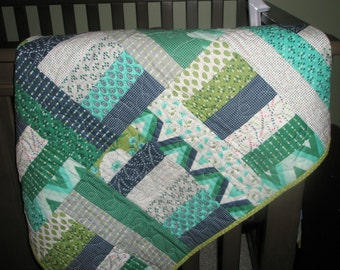 Baby boy quilt Blues and Greens * Crib * Car Seat Blanket