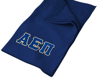 Alpha Epsilon Pi Twill Letter Sweatshirt Blanket - Navy