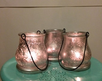 Mercury Glass Lantern Candle Holder