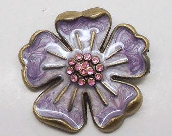 Vintage Purple Rhinestone Flower Brooch