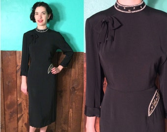 Vintage 1940s Dress | Vintage Black Rayon Dress with Beaded Collar and Bow| Medium Large