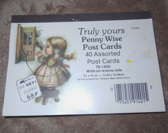 Postcards by Pratt & Austin Truly Yours Penny Wise Post Cards 79-140D Set of 40 Complete