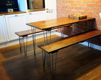 Hairpin Leg Table & Benches, Reclaimed Wooden Top