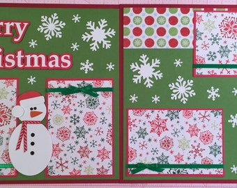 2 Premade Scrapbook Pages, 12x12 Layout, Paper Piecing, Snowmen, Merry Christmas, Christmas, Handmade