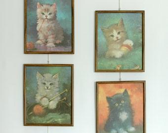 Set of 4 Vintage Framed Illustrated Kitten Prints by Florence Kroger