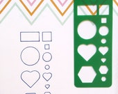 T004 - Green Universal Planner Stencil Bookmark ~ Fits Most Planners