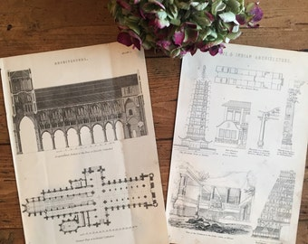 Antique Architectural Prints/Pair vintage prints/Victorian encyclopedia book plates/cathedral illustrations/Chinese & Indian Architecture