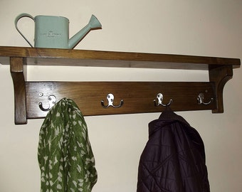 Rustic hallway coat rack with hooks and shelf, handmade from solid wood