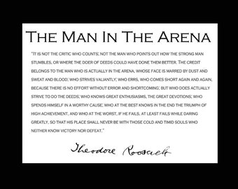 """Theodore Teddy Roosevelt """"Man in the Arena"""" Quote 8x10 Picture"""