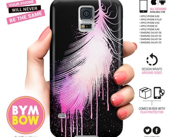 Samsung Galaxy S6 Case Feather, S5, S4, S3, iPhone 6, iPhone 6s, Feather iPhone 6 Plus, iPhone 5 Case, iPhone 5s, iPhone 5c, Gift for Women
