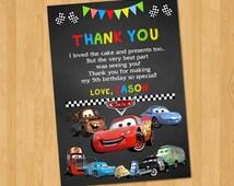 Cars Thank You Card, Disney Cars Chalkboard Thanks Card, Disney Cars Thank You Note, PERSONALIZED, Digital File