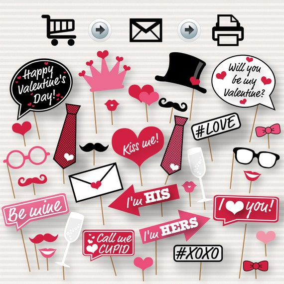 Valentine's Day Printable Photo Booth Props - Valentine's Day Party - DIY Valentine Photo Booth Props - Valentine's Party Photo Booth