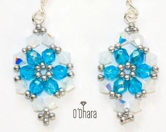 Blue white swarovski earrings, sterling silver earrings, glass beads, nickel lead free, shiny modern crystal earrings, handmade jewelry