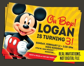 Mickey Mouse Invitation- Mickey Mouse Birthday Invitation
