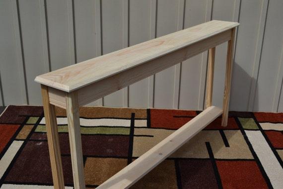 Unfinished Foyer Table : Unfinished narrow console sofa foyer beveled edge