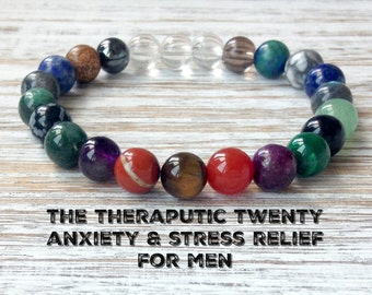 The Therapeutic Twenty Anxiety Relief Bracelet for Men, Healing Crystals, Stress Relief, Gift for Him, Inner Peace + Soothing + Relaxation