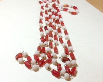 Far out vintage long hippie necklace beaded hippie necklace boho necklace beaded necklace brick red and beige glass bead links 1970s