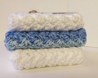 Cotton wash cloths, Cotton dish cloths, Crochet wash cloths, Set of wash cloths