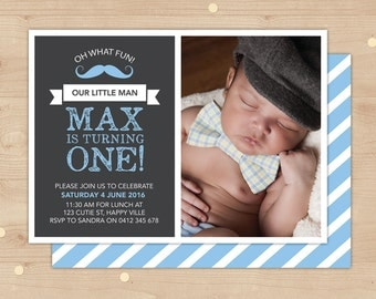 Moustache 1st birthday Photo invitation boys // double sided boys birthday invitation // Mustache Oh what fun, our little man is turning one