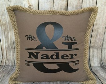Personalized Wedding Pillow, Custom Names & Wedding Date, Wedding Pillow, Anniversary Gift, Home Accent Pillow, Personalized Gift