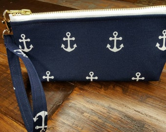 Nautical Wristlet 100%cotton By Lil Lee Bee