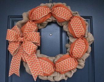 Orange Burlap Wreath, Fall Wreath, Spring Wreath, Summer Wreath, Rustic Wreath, Front Door Wreath, Thanksgiving Wreath