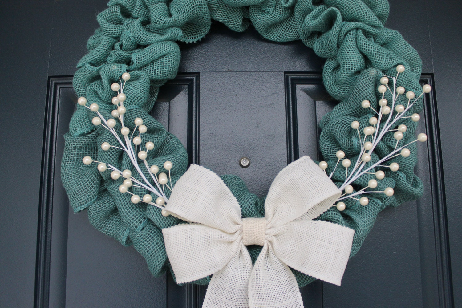 Turquoise blue burlap wreath light blue wreath winter wreaths for Burlap wreath with lights
