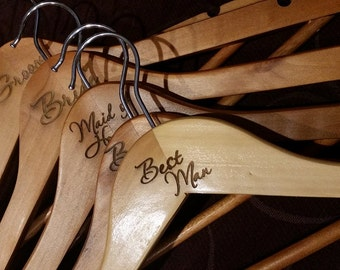 laser engraved bridal wooden coathangers