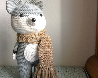 Fox silver with his scarf crochet