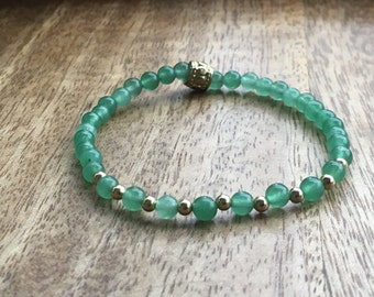 Green Aventurine/Gold Elastic Beaded Bracelet