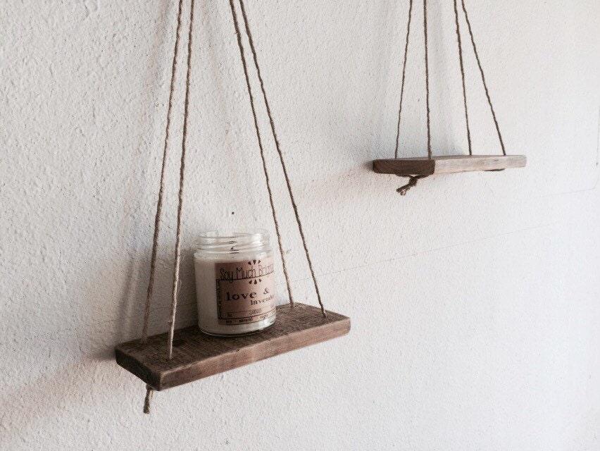 Suspended Shelves 2 small swing shelves reclaimed wood set of two suspended
