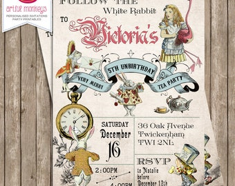 Printable Alice in Wonderland Tea Party Invitation