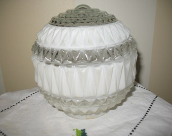 Retro Lampshade glass embossed alternating transparent white.