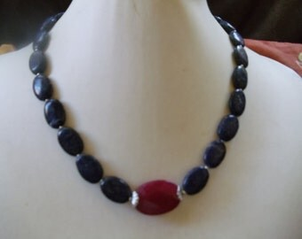 Gorgeous lapis lazuli necklace with Ruby Pearl Jewelry Neclaces