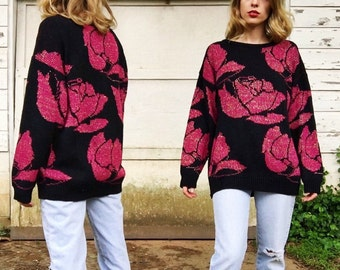 Vintage Black + Hot Pink Rose Oversized Winter Sweater with Metallic Gold Knit M