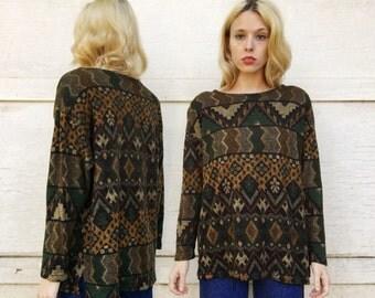 Vintage Black Green + Orange Oversized Geometric Southwestern Pattern Long Fuzzy Shirt M